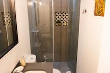 Bathroom - fully renovated with excellent materials and custom-made shower niche. With hairdryer and basic toiletries.