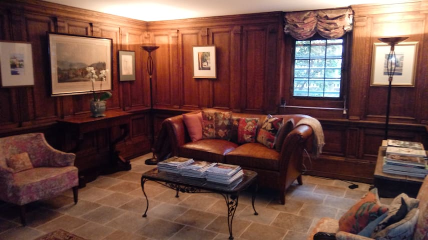 Oak paneled sitting room