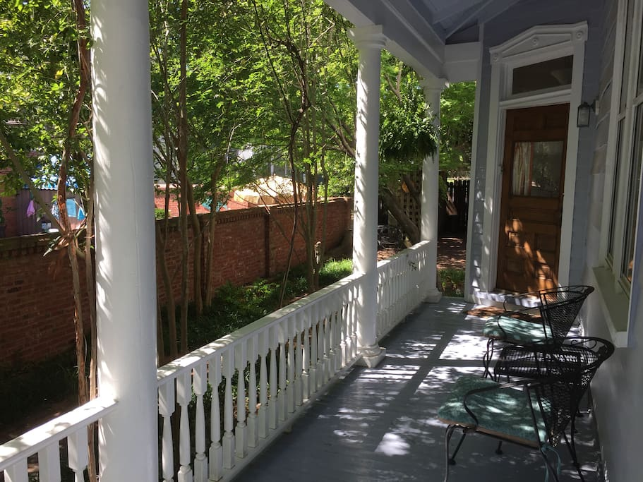 As you enter the porch, you take a left to your private entrance into the LW Davis apartment.