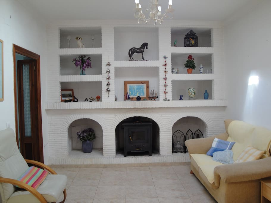 Lovely, large & bright lounge area with wood burning stove, tv, dvd and wifi