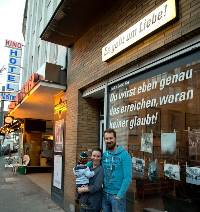 my family in front of the shop