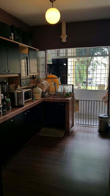 Bright wash area and kitchen w amenities
