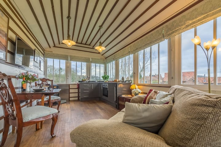 The Signal Box:   Open plan living space with unique ceiling