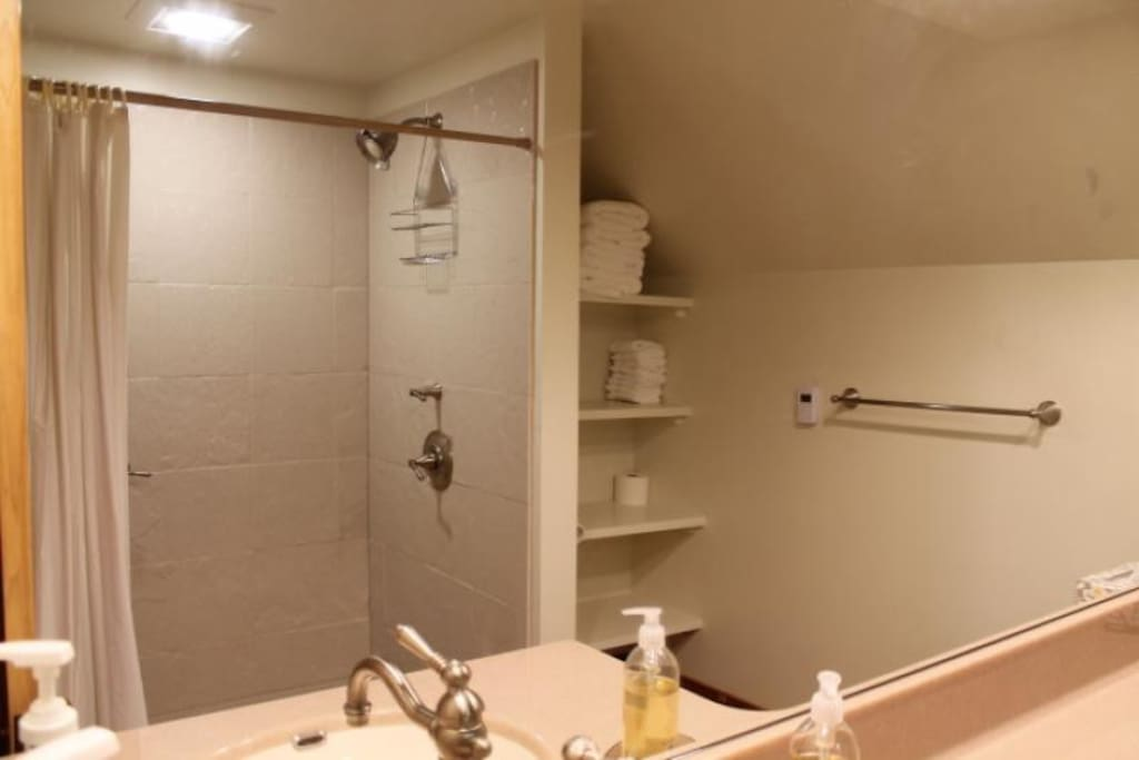 Bathroom with shower, towels, some toiletries, and hair dryer.