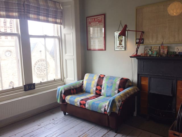 Living room outlook onto Pilrig Church