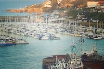 Brixham in the glow of the setting sun.
