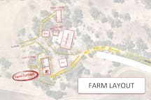 An overview of the building layout at Buckbury End Farm *The Farm cottage is currently the only only room available.