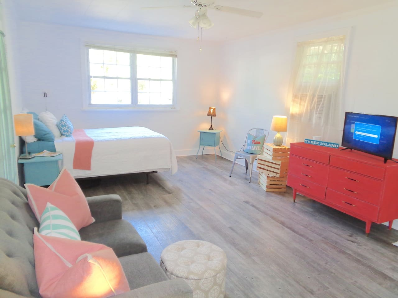 Spacious main room with queen bed and love seat!