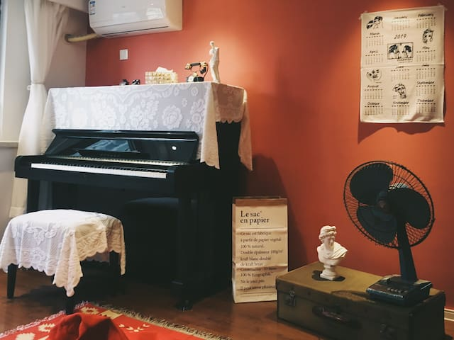 【一宿】砖红复古风格loft公寓 自带钢琴浴缸投影 江南大学/文化宫/海岸城/万象城/鼋头渚/摩天轮