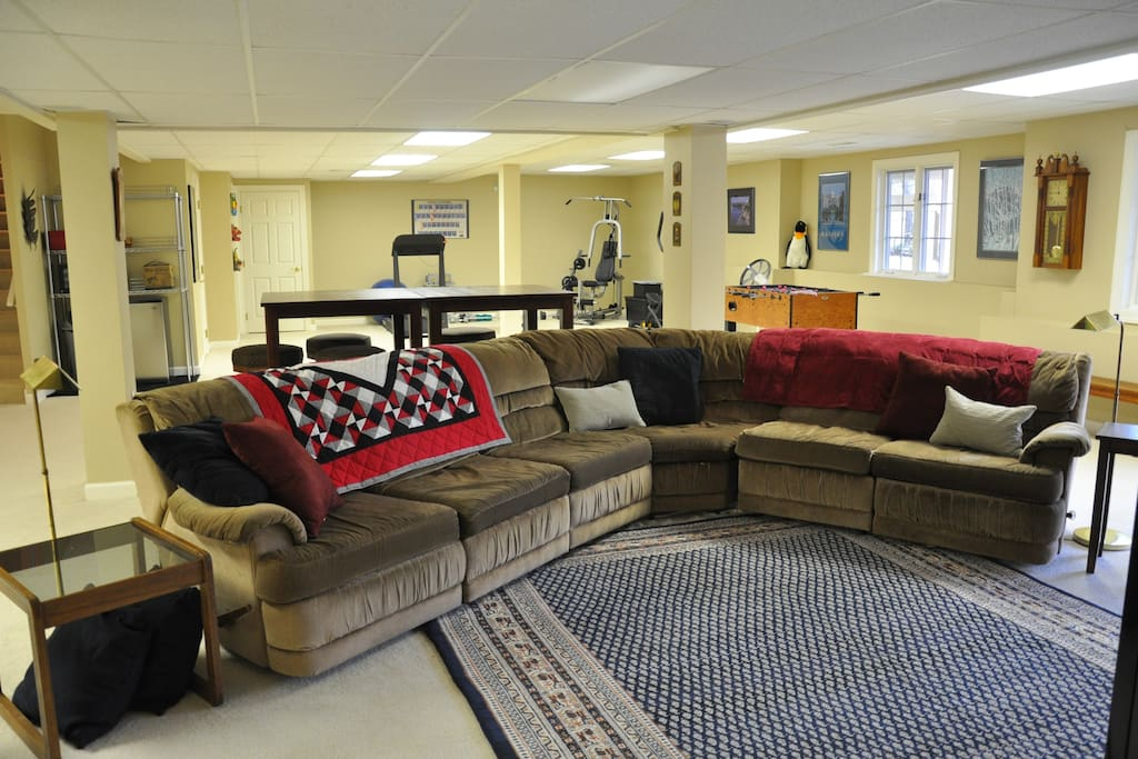 Large sectional sofa, left corner nook  with microwave and mini refrigerator