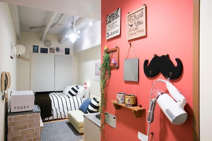 2.Nanba5min! Shinsaibashi5min! mWiFi - Osaka - Apartamento