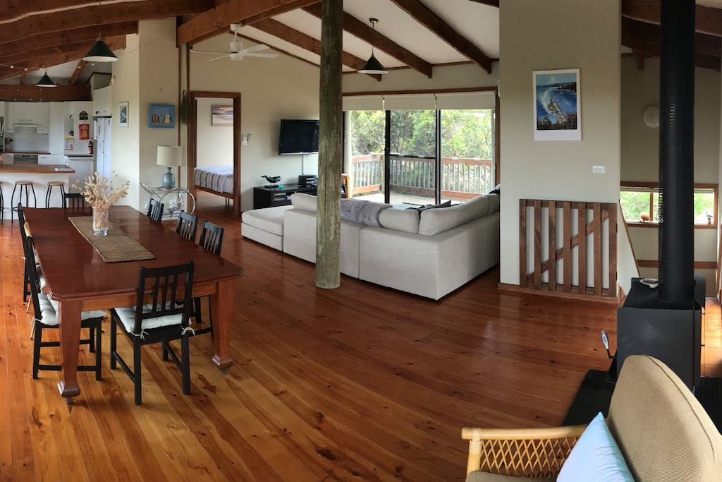 The spacious upstairs living area with a reverse cycle a/c and combustion heater.