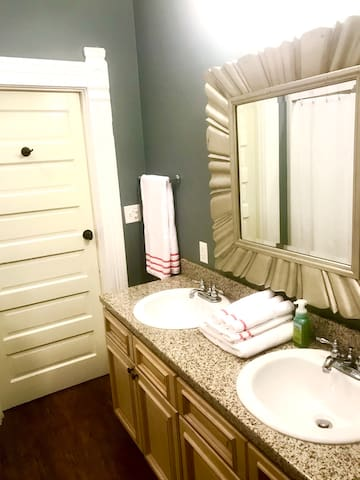 Beautiful granite counter tops in the bathroom and kitchen!
