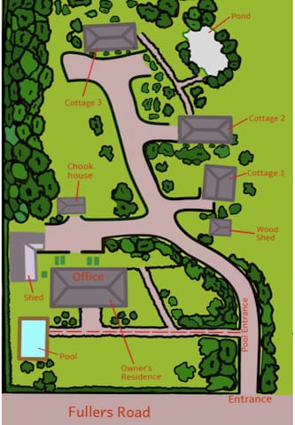 Mudmap of the property - cottage 1 is the first one on the right hand side of the driveway