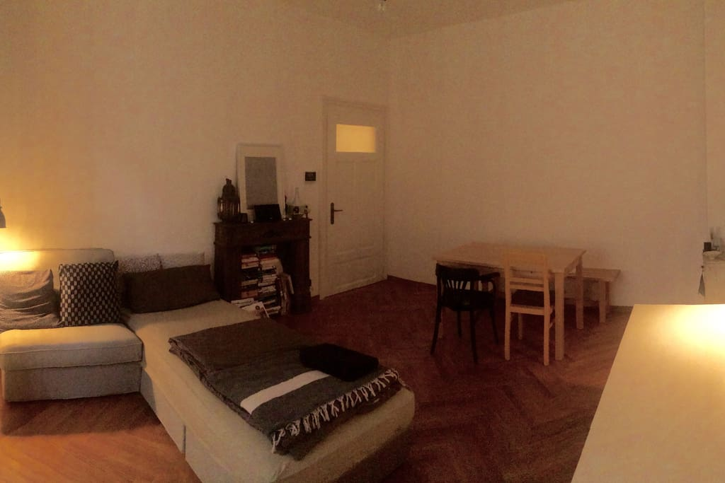 Living room/Bedroom with dining table and work table