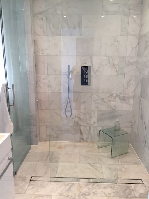 The roomy, glass-enclosed shower features a rainshower waterhead and hand shower.