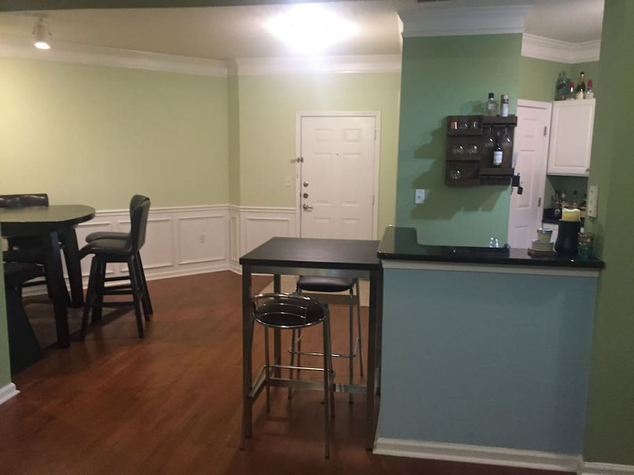 Open view of dining/kitchen from living area