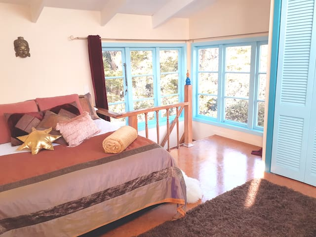 Double bed upstairs.
