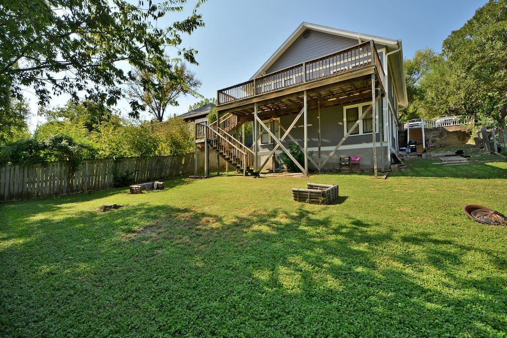 Our huge fenced in backyard is a great space to play horse shoes with friends and family