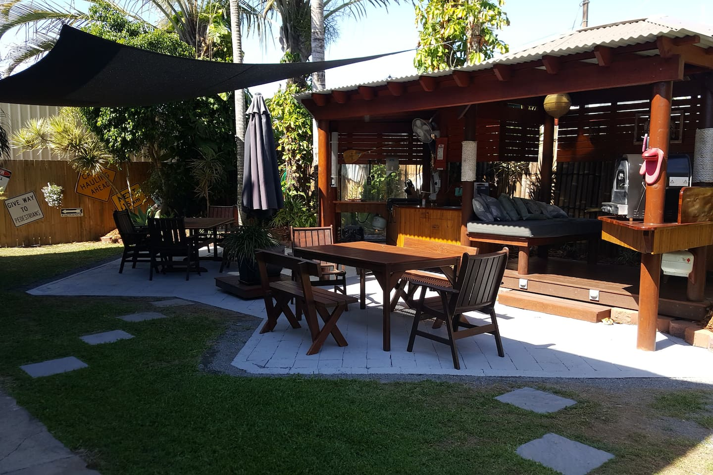 Outdoor kitchen and entertainment area.