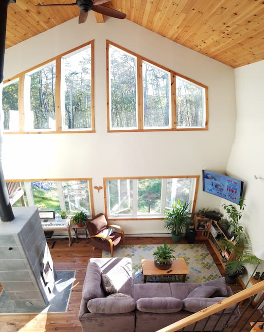 Home features floor to ceiling windows with a view of the backyard and woods beyond.
