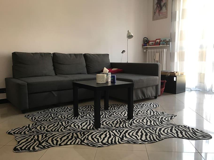 Salotto con divano letto, tavolino, tappeto zebrato e porta finestra su balcone