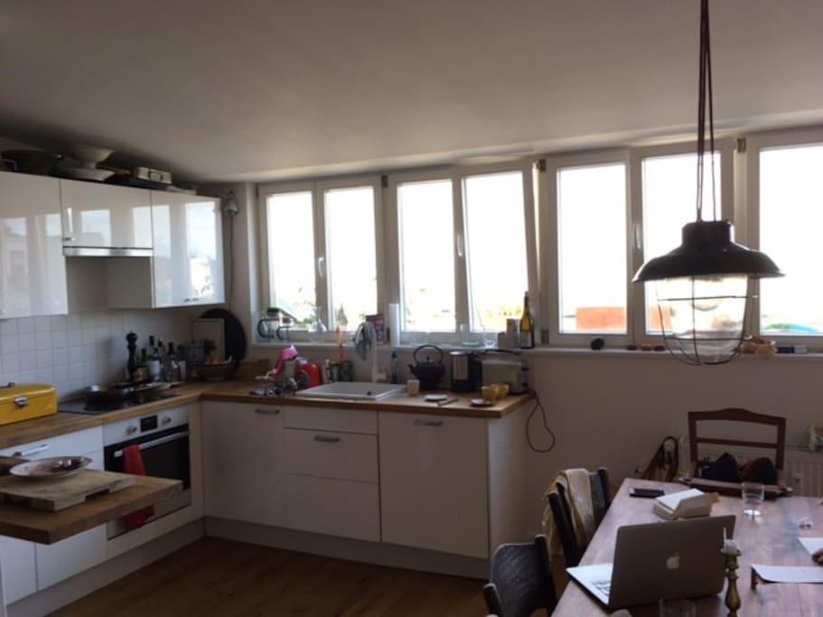 bright kitchen & living room