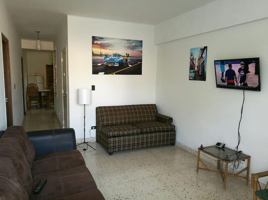 sala de estar, espacio para uso exclusivo de los huéspedes y sofá cama muy cómodo 3/4
