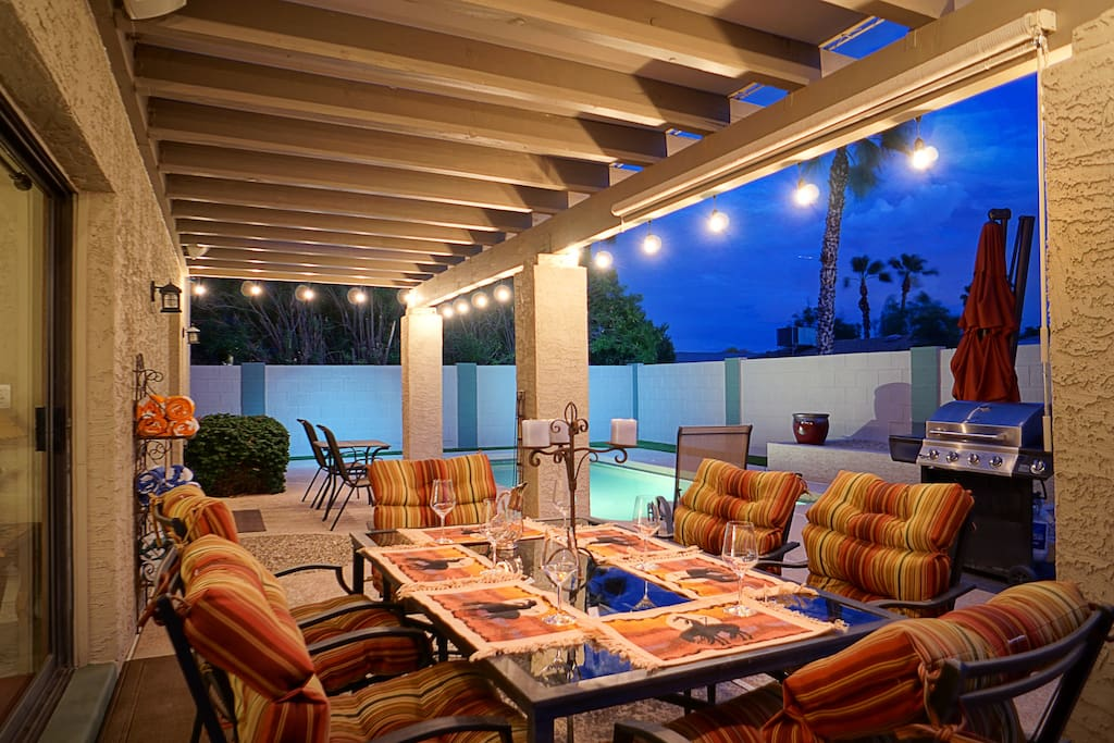 Entertain or enjoy a romantic dinner in the cozy Scottsdale nights