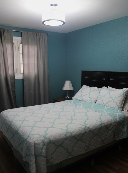 Master bedroom with queen bed, two closets