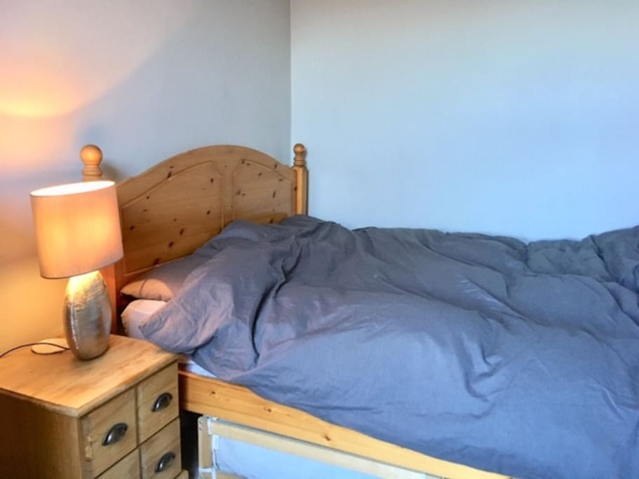 Spacious double bed and touch lamo