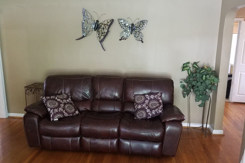 Comfy Leather Sofa and Chair in Living Room