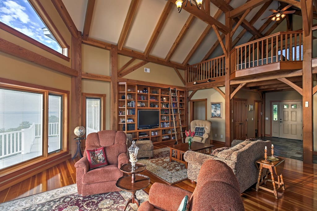 The Douglas Fir post and cathedral ceilings give this home a cabin-feel.