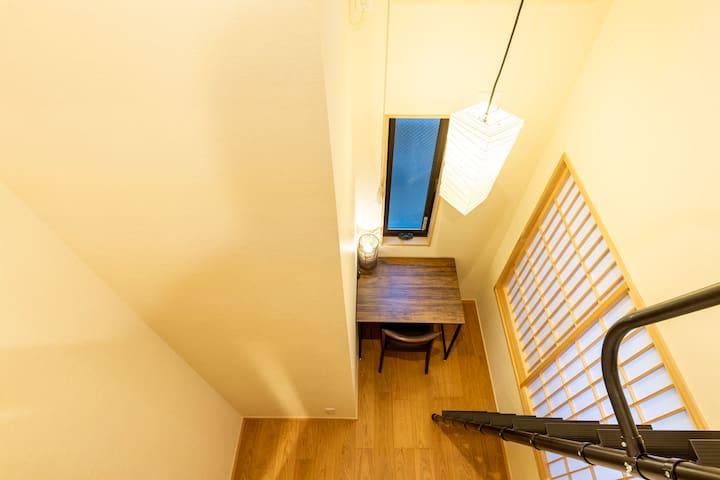 寝室2 デスクと椅子 /From the loft in the work space.
