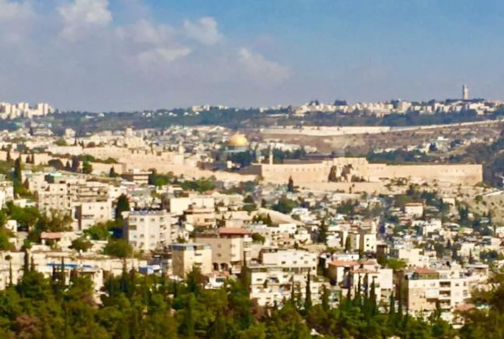 Beautiful view of Jerusalem from living room balcony