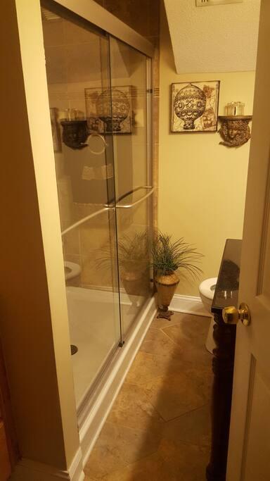 Full bath with walk-in shower.