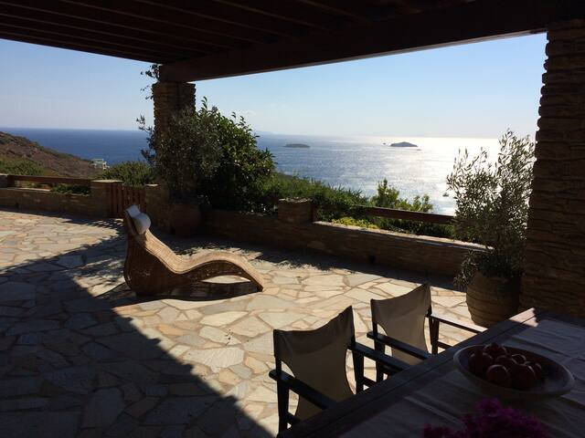 Philocaly villa, stunning seaview,perfect location - Andros - Huis