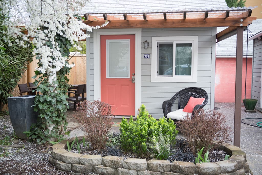 the entrance to the tiny house