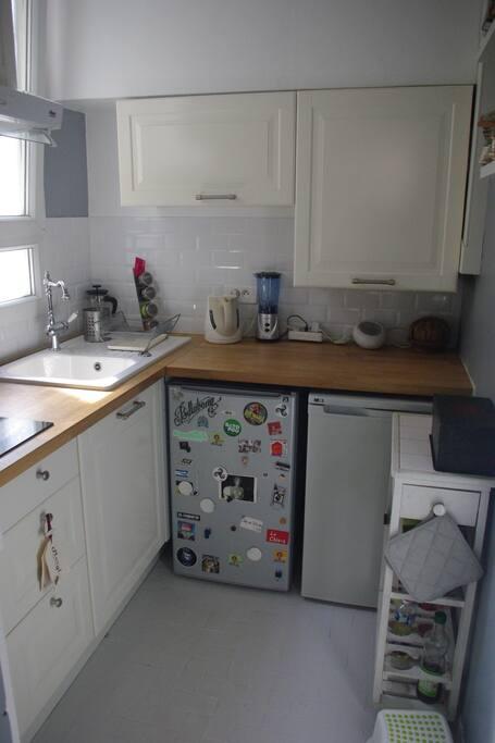 CUISINE EQUIPEE (frigo, congélateur, four, plaques à induction, bouilloire électrique, grille pain...)