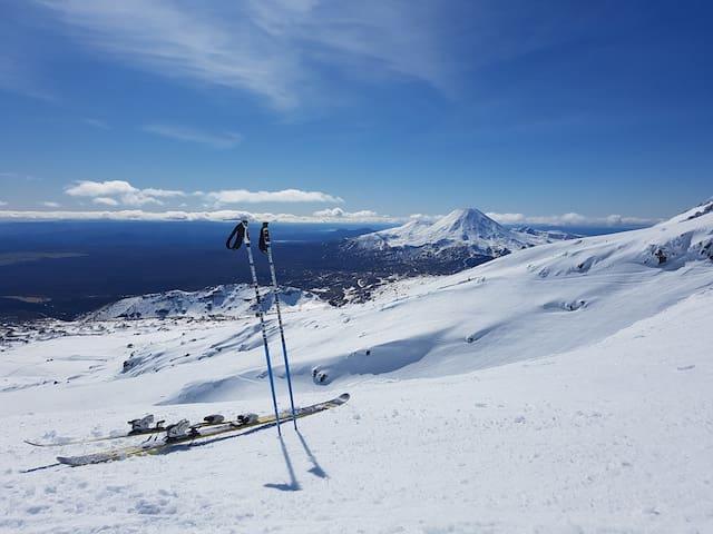 Skiing overlooking the volcanoes