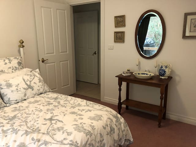 The Blue Room Double Bed with wardrobe and garden views