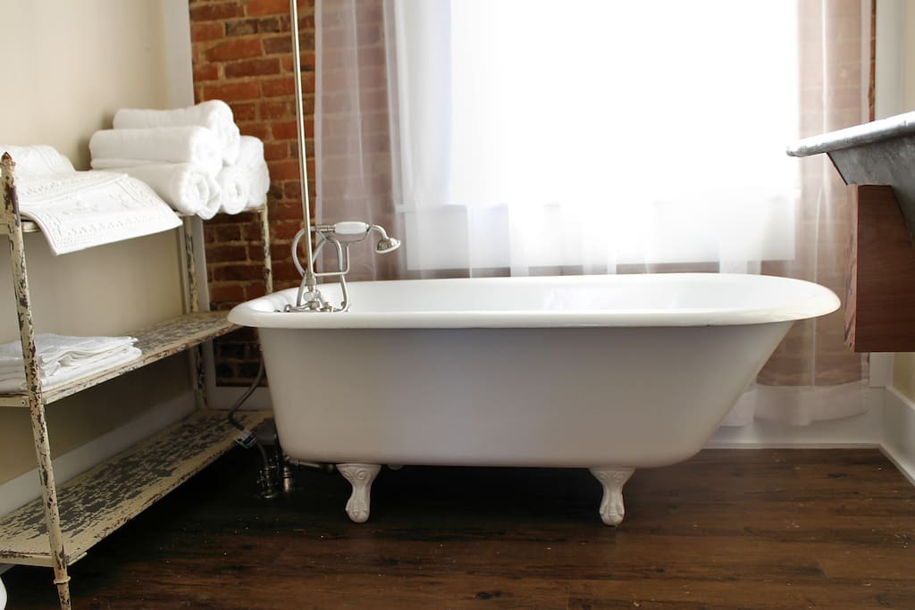 You will love this antique claw-foot tub with all the hot water you want!