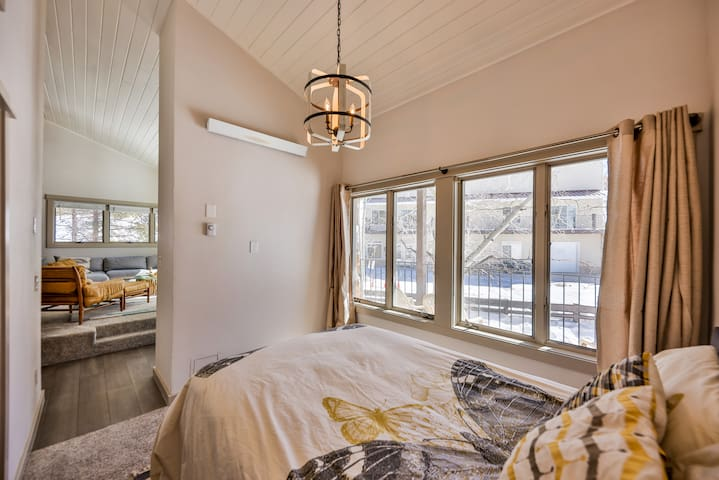 Main level guest bedroom with a full bed.  Separated from the master bedroom by a sliding door.