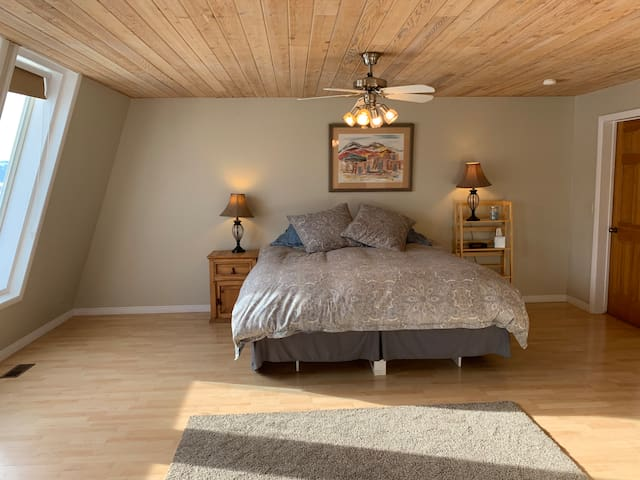 Spacious master bedroom with king bed, large walk-in closet, and large windows with more views.