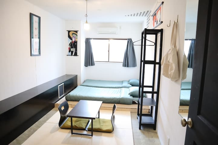 #8Tatami twin room /1min from Train St!