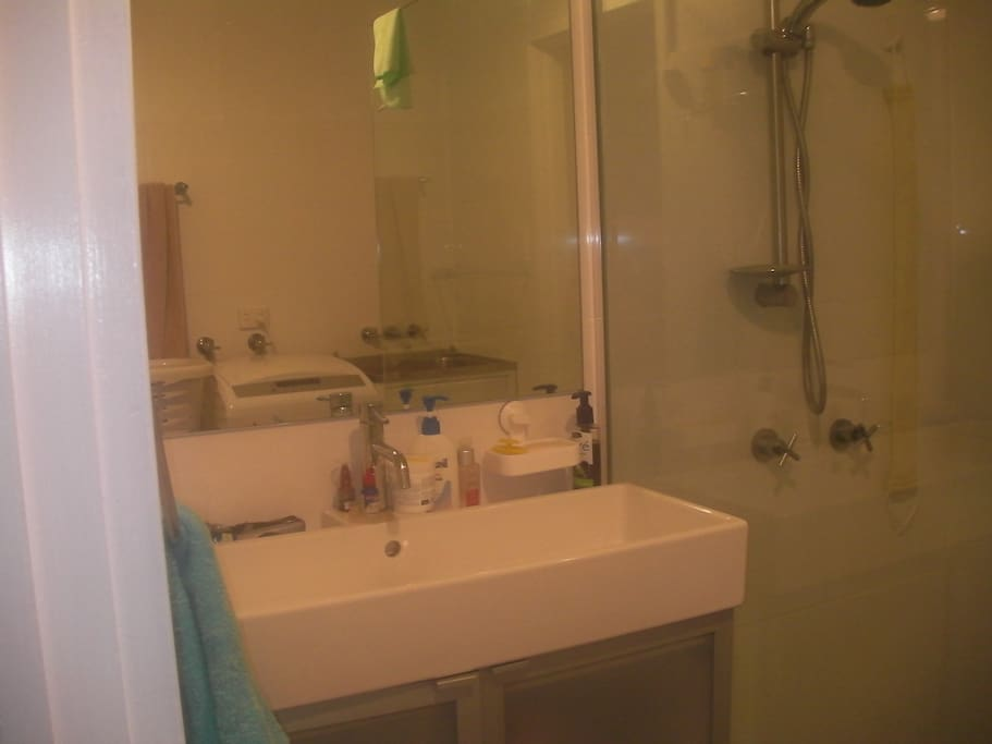 Bathroom/Laundry area. Apartment has a separate toilet room