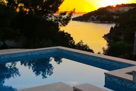 Sunset view Villa Tiha at seafront - Bobovišća