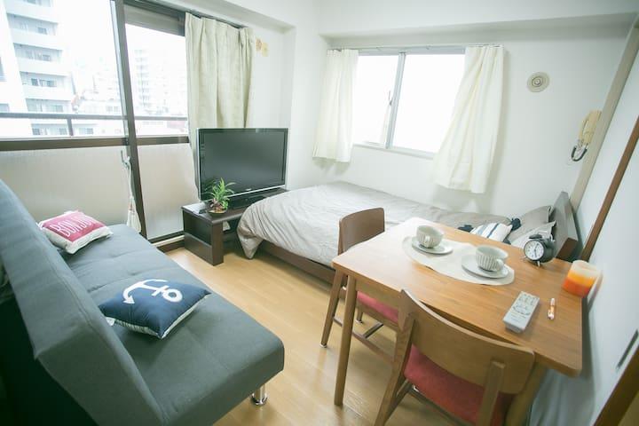 【新開張】兩臥室,2分鐘步行淺草橋站,外面可看見東京晴空塔,免費便攜wifi - Taitō-ku - 公寓