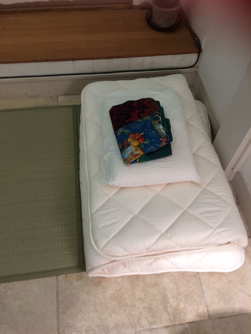 This booking includes tatami mat, futon, pillow and fresh case, and blanket (if needed).  You bring the top/bottom sheets and towels, or they can be rented.
