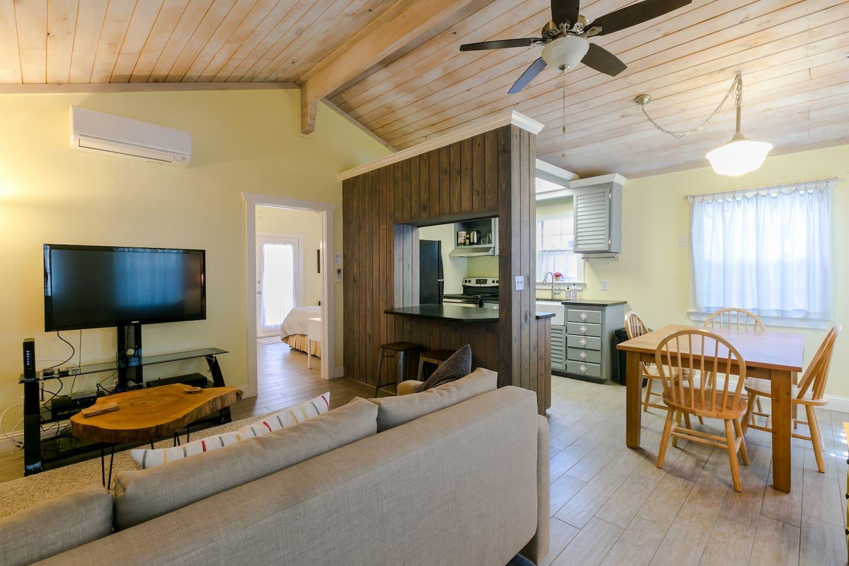 View upon entering, Living, kitchen, dinning, bedroom entrance
